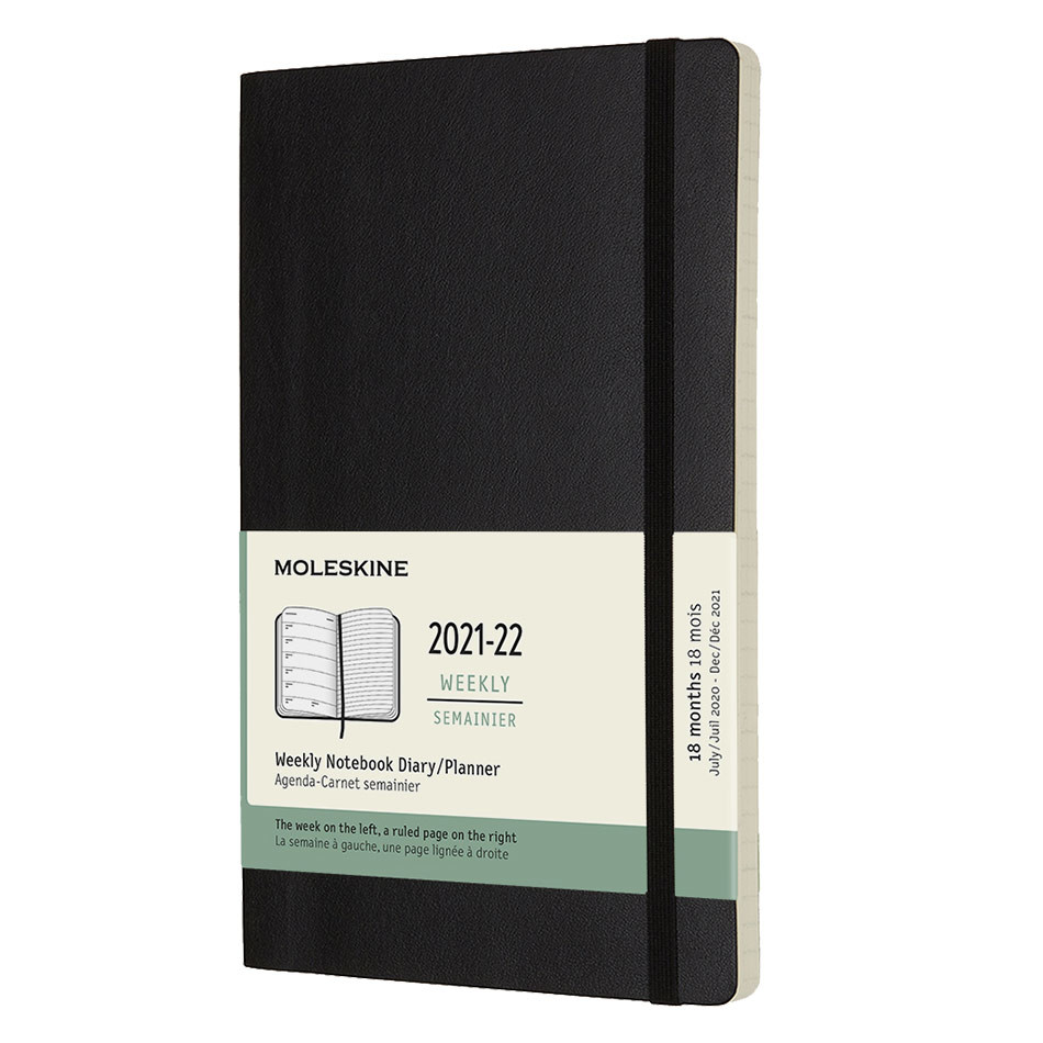 Moleskine Softcover Large Weekly 18 Month Diary 2021-2022 Black