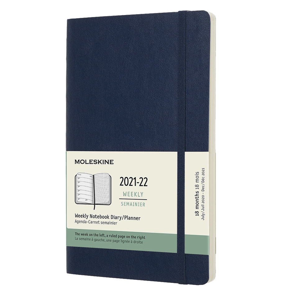 Moleskine Softcover Large Weekly 18 Month Diary 2021-2022 Sapphire Blue