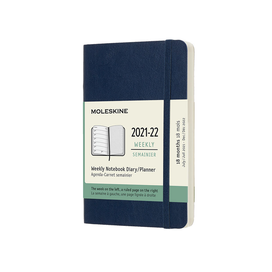 Moleskine Softcover Pocket Weekly 18 Month Diary 2021-2022 Sapphire Blue