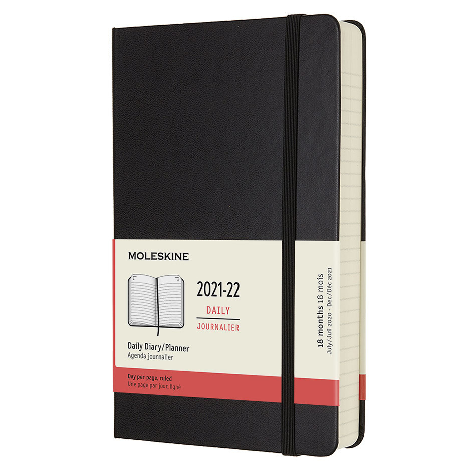 Moleskine Hardcover Large Daily 18 Month Diary 2021-2022 Black