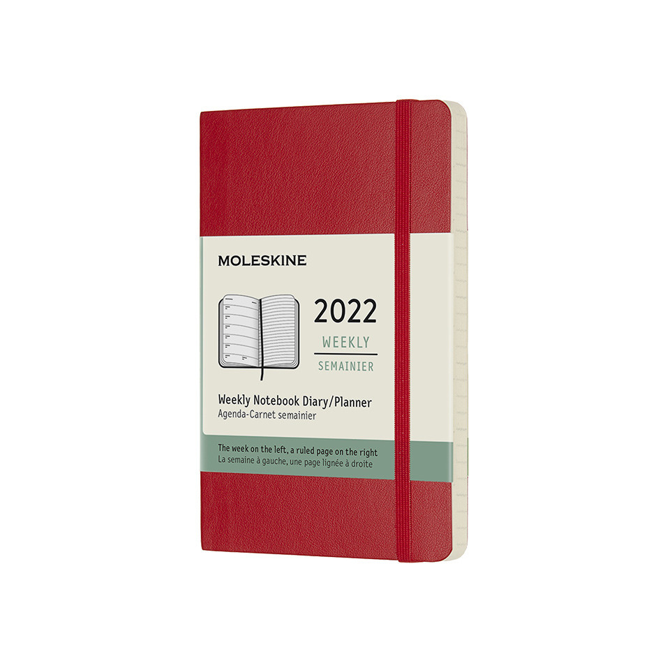 Moleskine Softcover Pocket Weekly Diary 2022 Scarlet Red