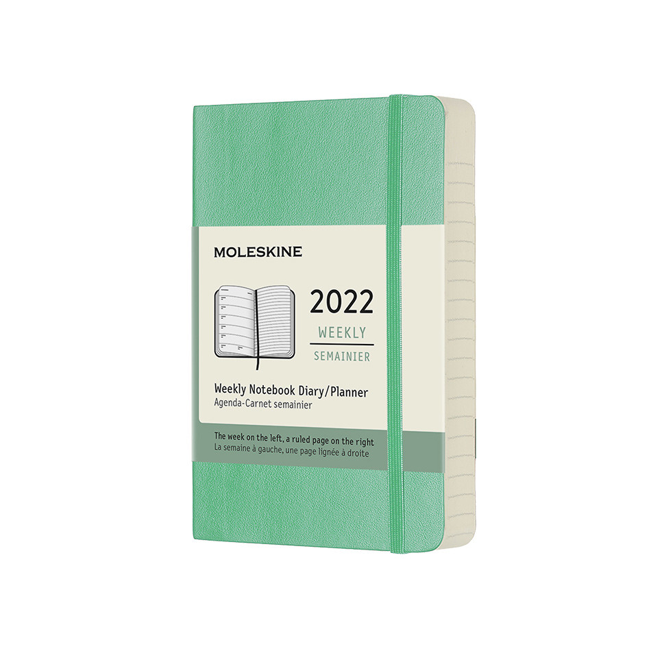 Moleskine Softcover Pocket Weekly Diary 2022 Ice Green