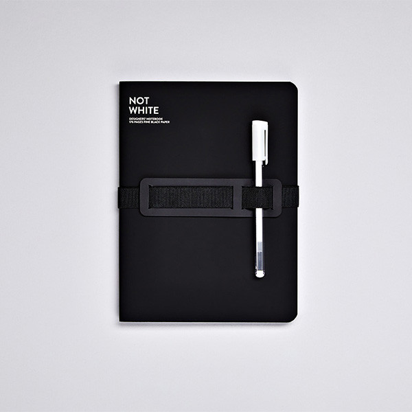 Nuuna Not White L Light Recycled Leather Cover Notebook Black