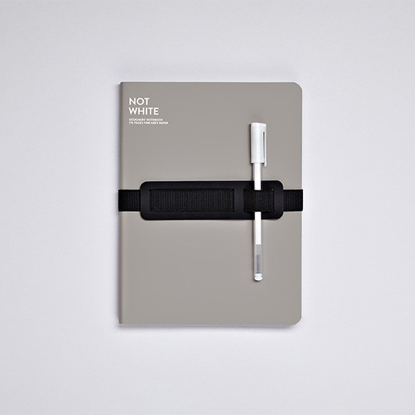 Nuuna Not White L Light Recycled Leather Cover Notebook Grey