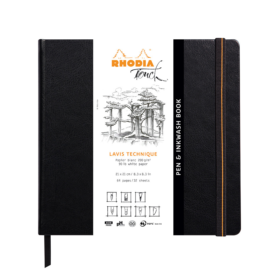 Rhodia Touch Pen & Inkwash Book Hardcover 210x210mm