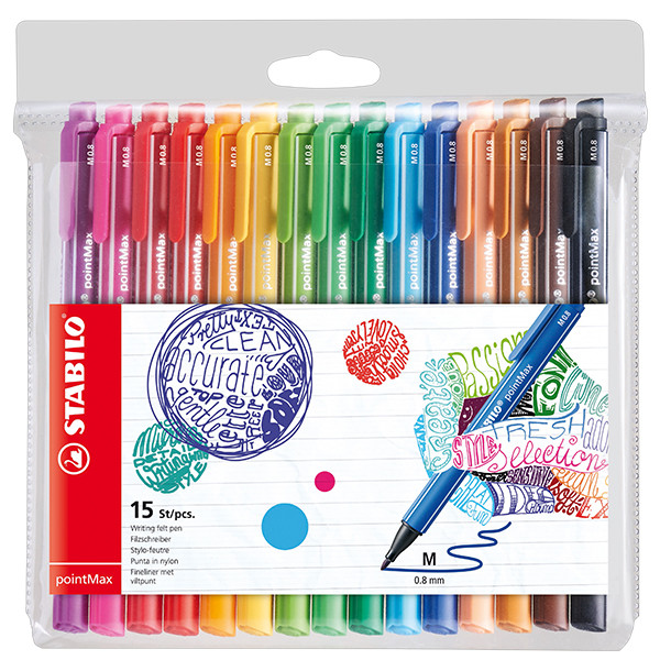 STABILO pointMax Colouring Pen Wallet of 15 Assorted