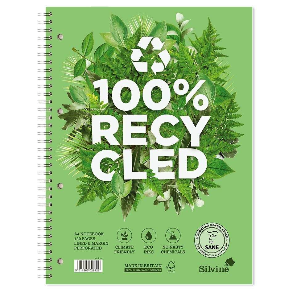 Silvine Premium 100% Recycled Twinwire Notebook A4+